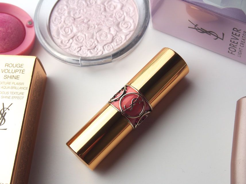 YSL Rouge Volupte Shine Pink in Confidence Swatch + Review