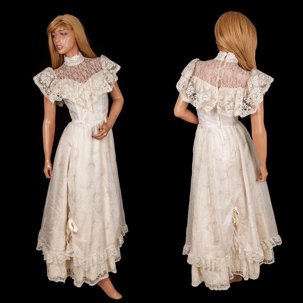 Gunne sax wedding dress  Vtg Gunne Sax Maxi Dress Lace Floral Festival Hippie Sz  Wedding