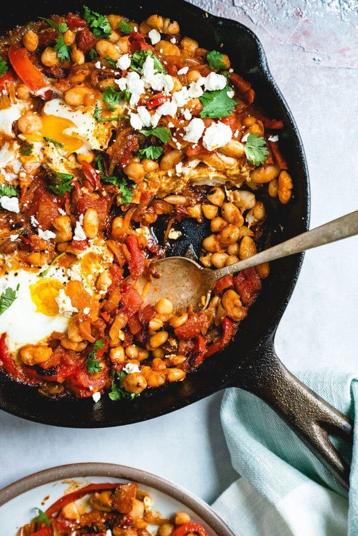 Shakshuka with Feta & White Beans - -
