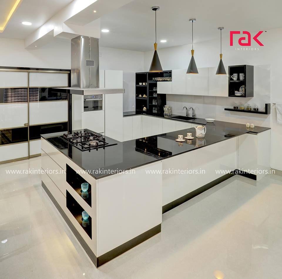 Black & White always looks modern  Modular Kitchen Project