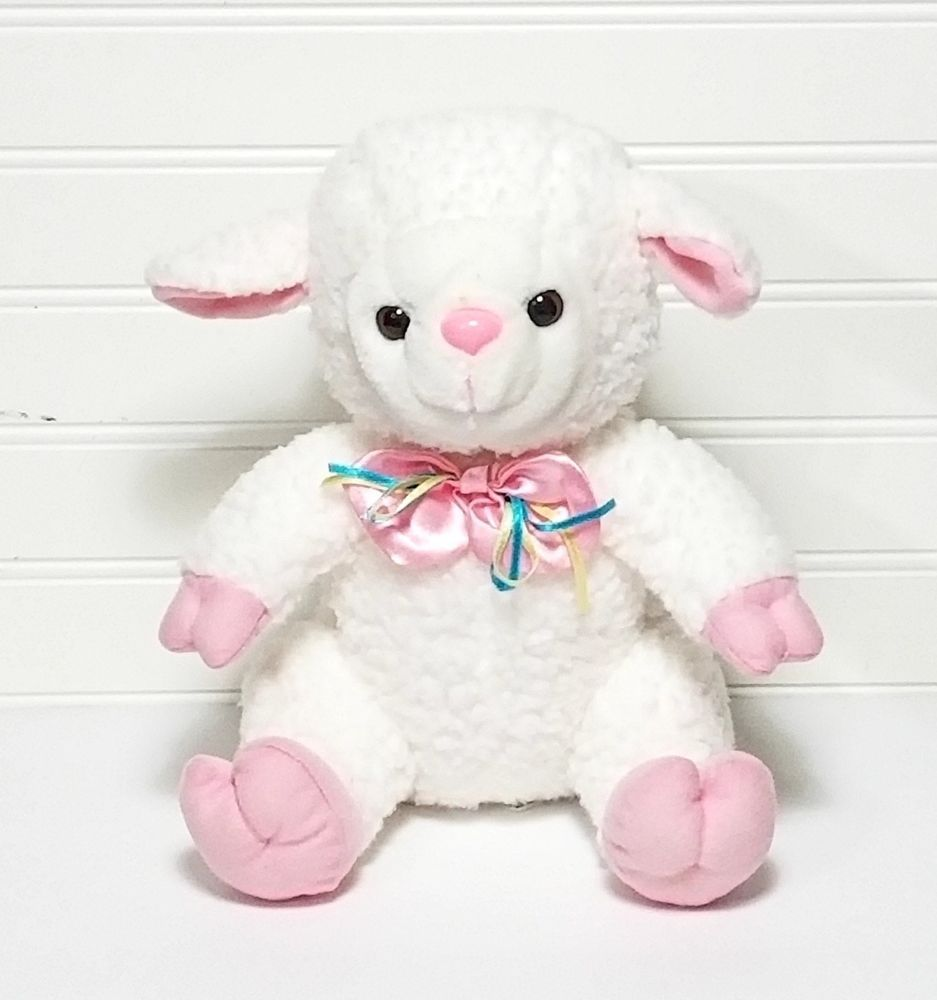 New Concepts White Lamb Plush Pink Ears Hooves Bow Nose 10