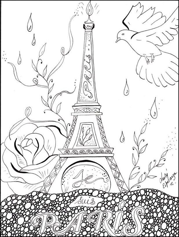Adult coloring page Peace for Paris | Coloring pages ...