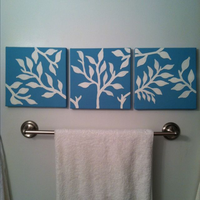 Simple Diy Canvas Paintings I Did For The Bathroom Diy Canvas Art Canvas Painting Diy Easy Canvas Art