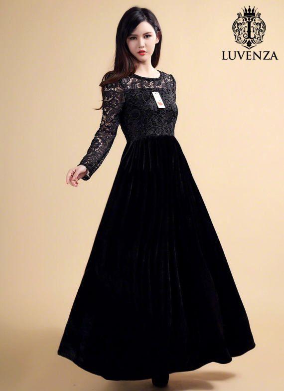 e0bf03de524 Long Sleeve Navy Lace Velvet Maxi Dress - Elegant Winter Dress - Velvet  Prom Dress - Lace Velvet Eve