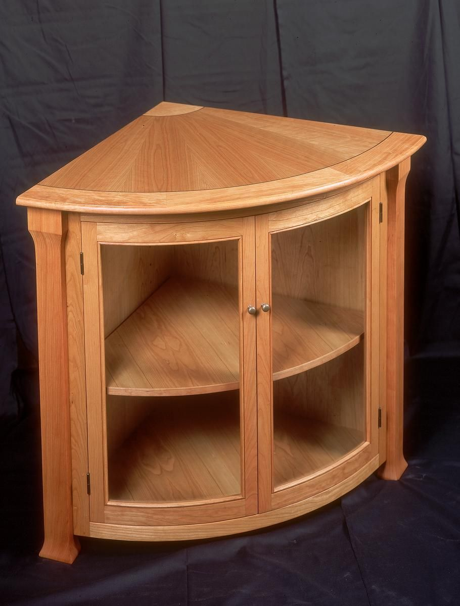 Spellbinding Wood Corner Cabinet with Doors also Curved ...