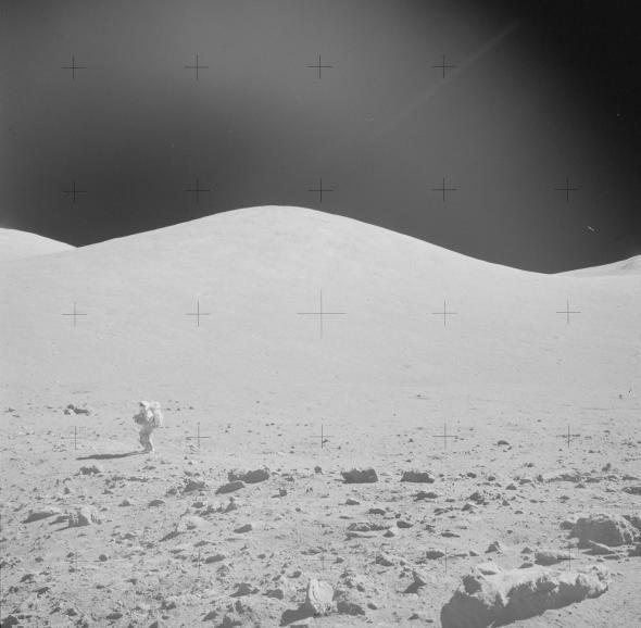 Picture of Gene Cernan walking on the moon