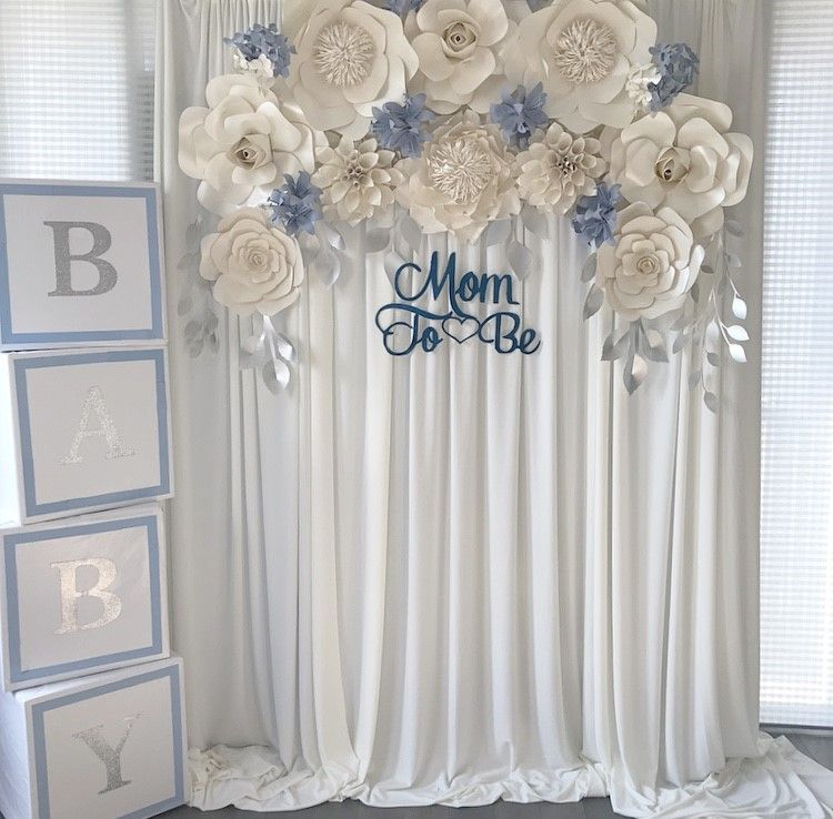Boy themed baby shower decor, paper flower backdrop | 60th ...