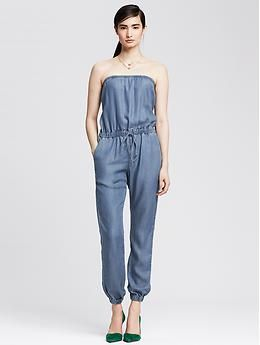 271e864ce63 Strapless Chambray Jumpsuit