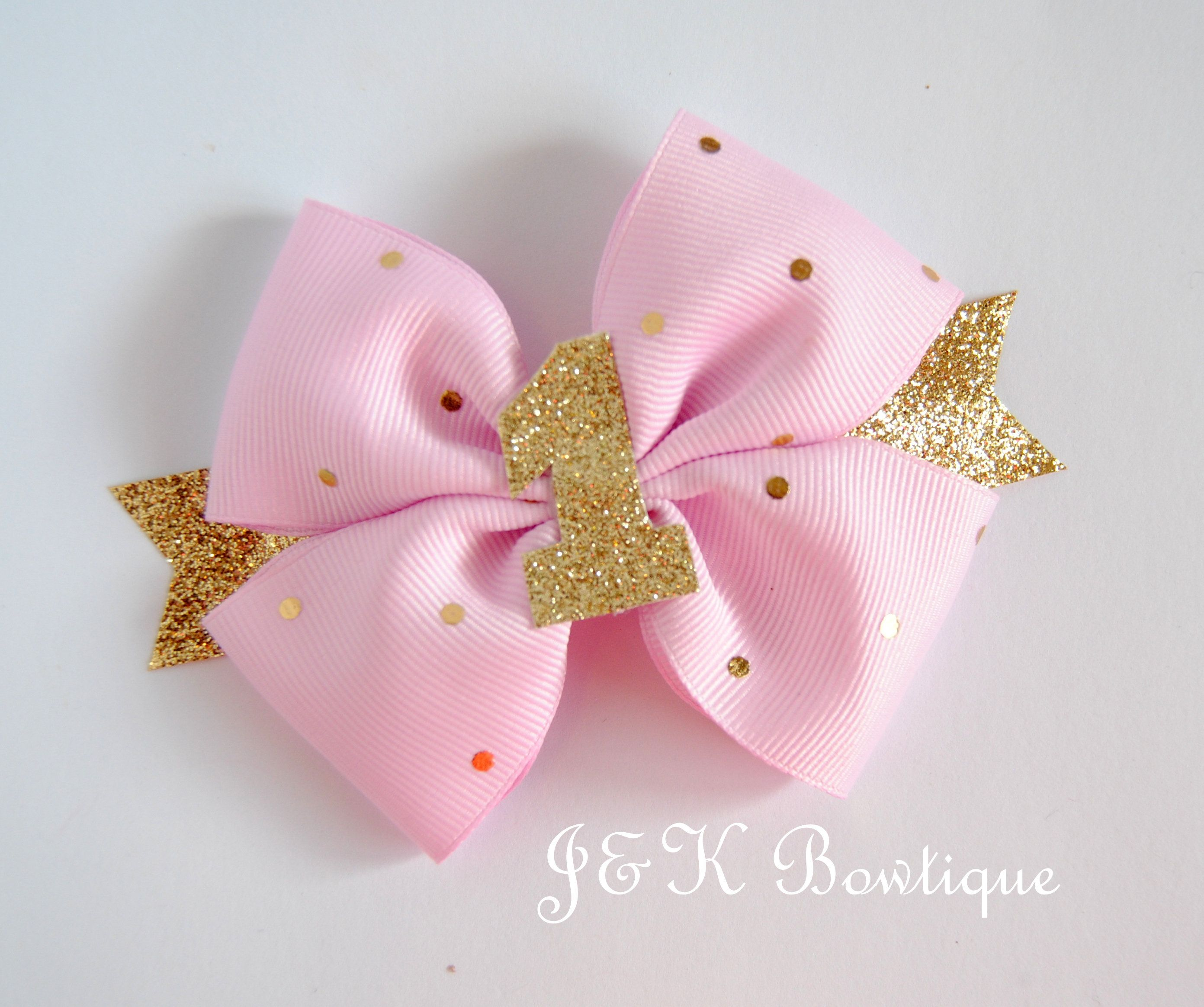 Birthday hair bow, pink and gold Bow , glitter one, hair bows for girls, hair clip, toddler bows, large bow, big bows, birthday bow #hairbows