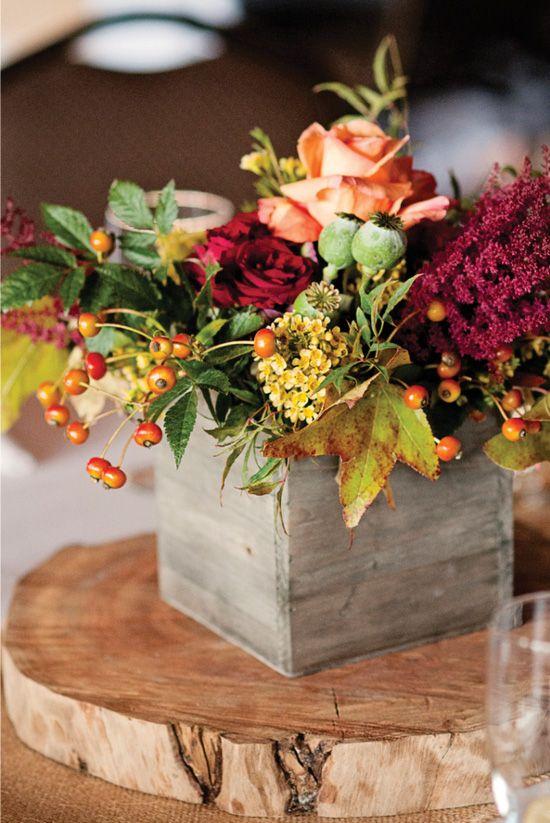 Sophisticated Rustic Wedding In Colorado Box Wedding Centerpieces Fall Wedding Centerpieces Fall Floral Arrangements