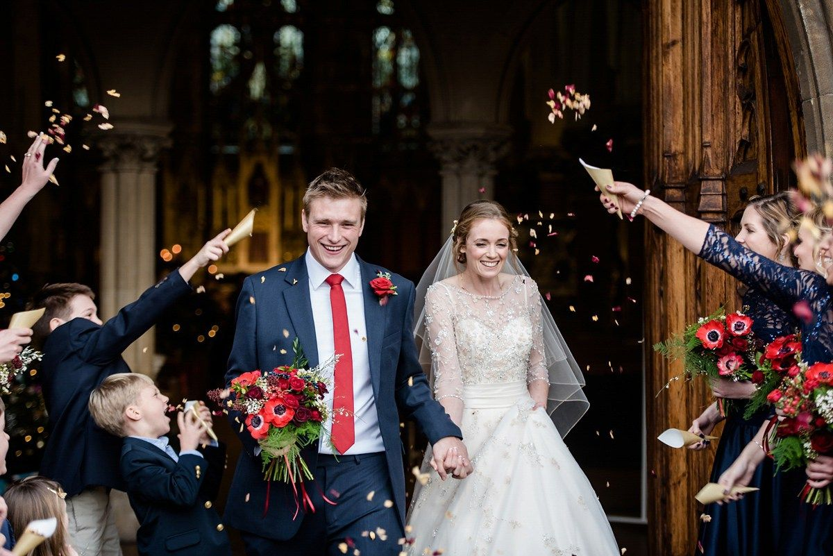 Bride and groom from a winter wedding. Photography by Lydia Stamps.