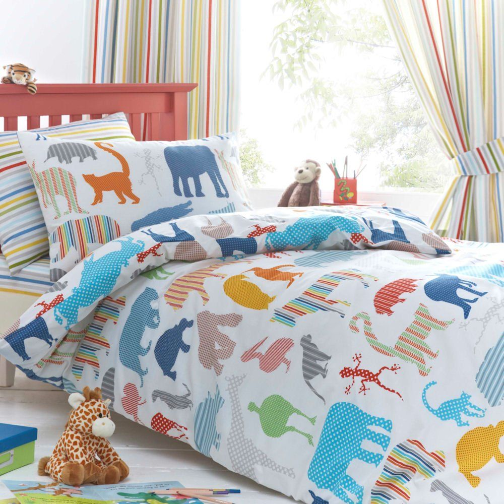 Boys Double Quilt Cover Just Kidding Zoology Animals Blue Boys Double Duvet Quilt Cover