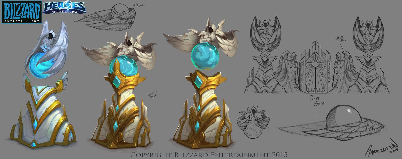 Heroes Of The Storm - Heaven Tower Concept, David Harrington on ArtStation at https://www.artstation.com/artwork/heroes-of-the-storm-heaven-tower-concept