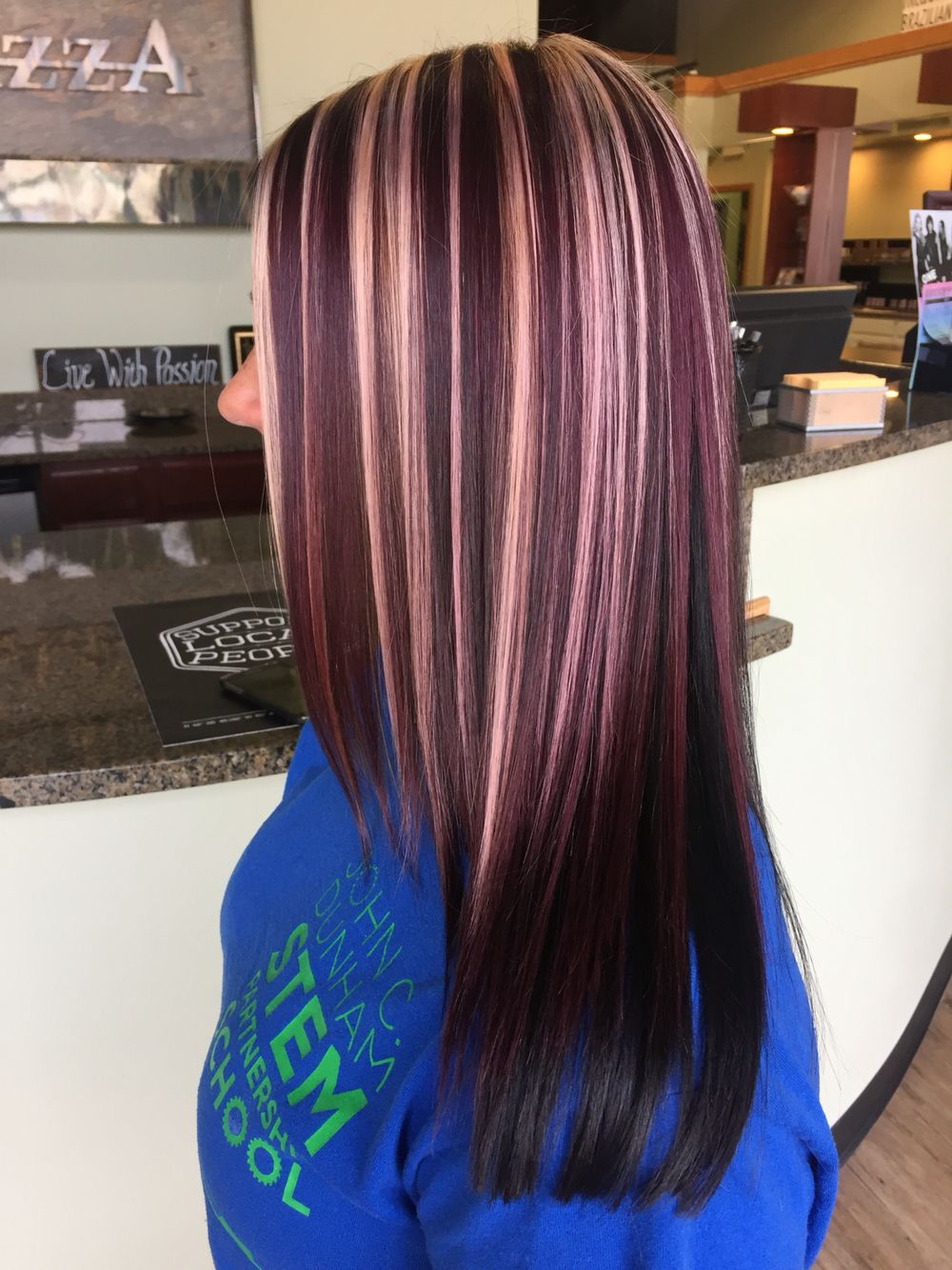 Violet Blonde Highlights Maroon Hair Hair Color Burgundy