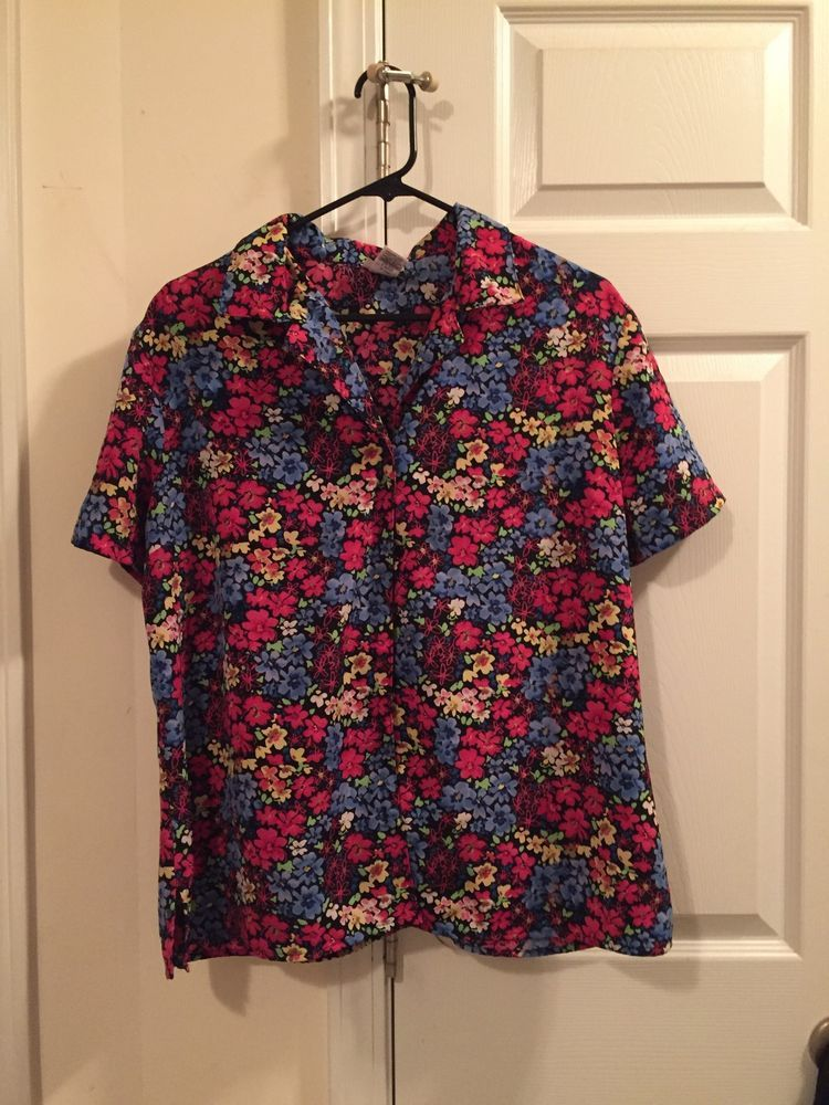 c65d755c Kim Rogers Signature Floral Pattern Button Down Short Sleeve Blouse Size XL  #fashion #clothing