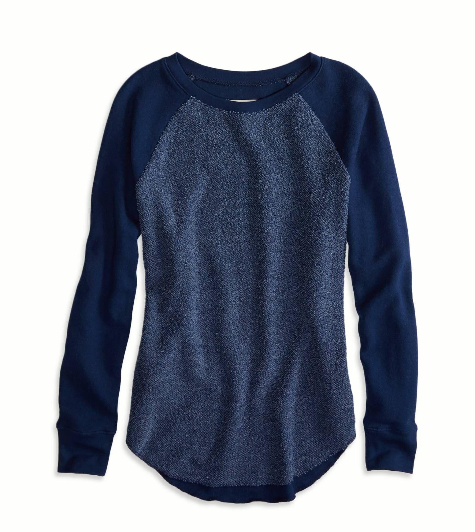 9c48c03c Navy AEO Factory Tonal Raglan Sweatshirt | Style <3 | American eagle ...