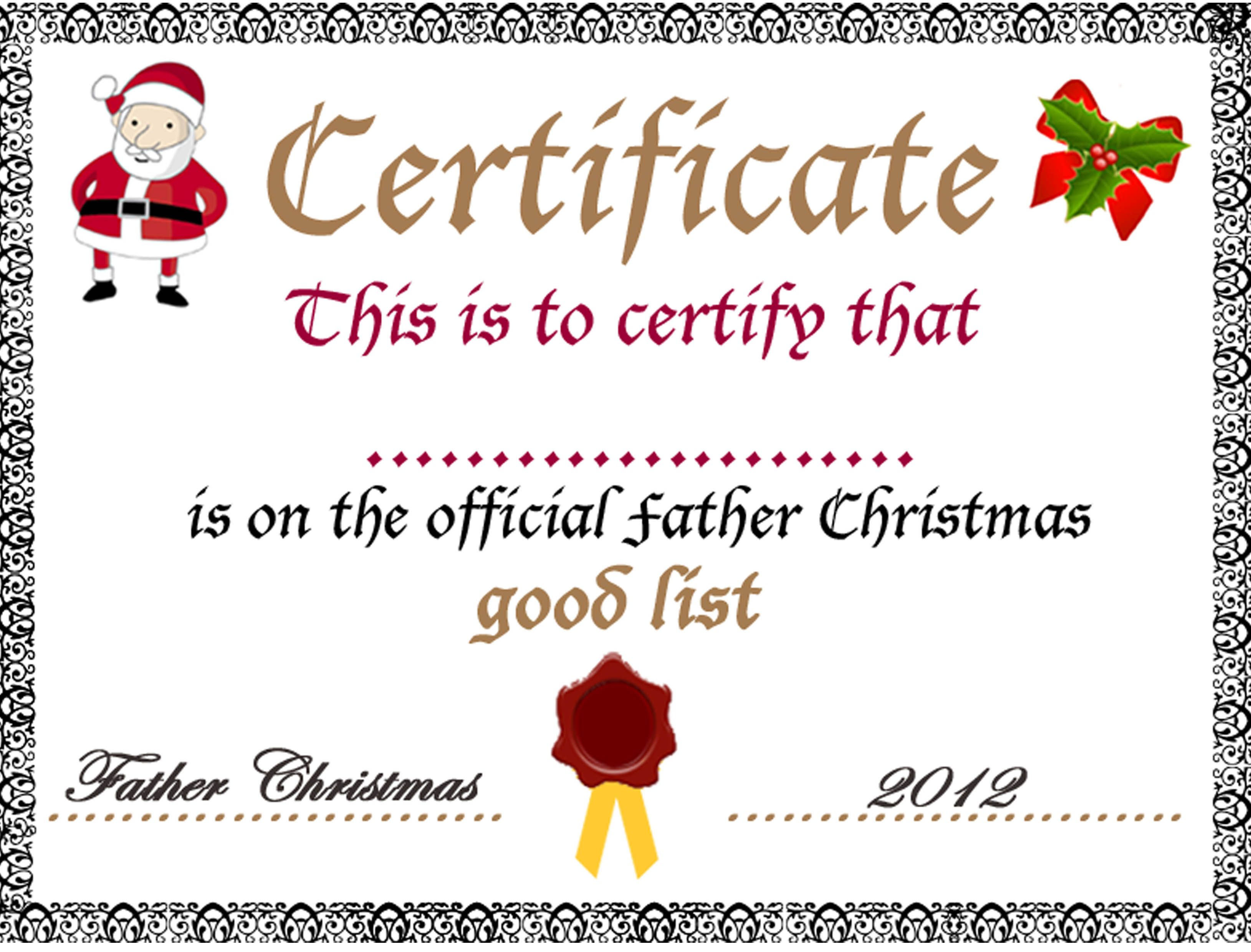 Good List Certificate From Father Christmas Free Printable