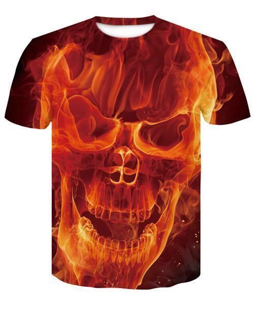 eddf5220e1 skull 3D Printing T-shirt Men Fitness Compression Shirts Tops Male T-shirt  Summer Cool High Street