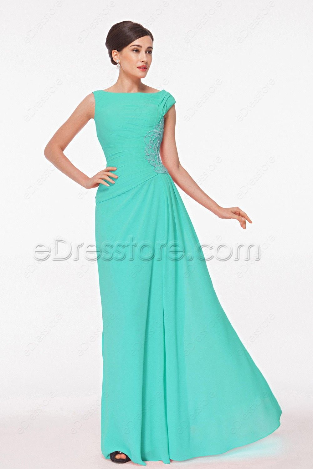 Modest Beaded Mint Green Mother of the Bride Dress | Pleated bodice ...