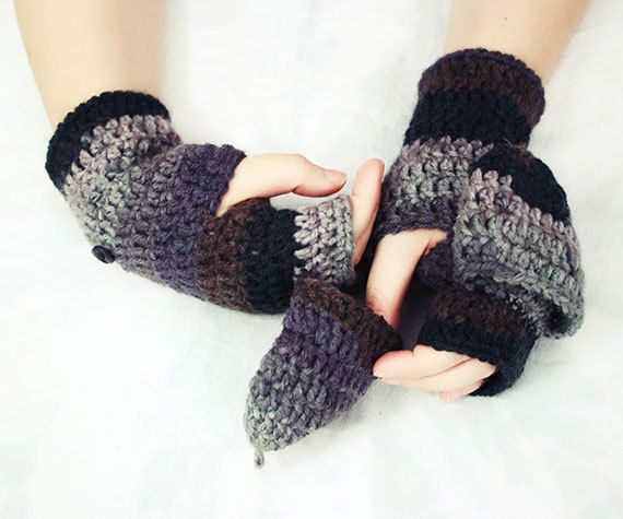 Crochet Pattern Pdf Fingerless Mitten With Flaps For All Sizes