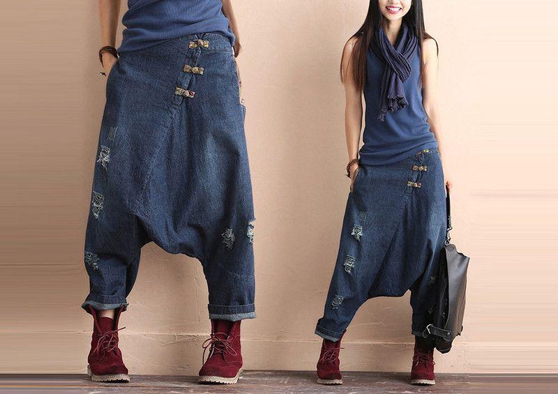 frauen loch stitching tiefem schritt jeans von utmto auf. Black Bedroom Furniture Sets. Home Design Ideas