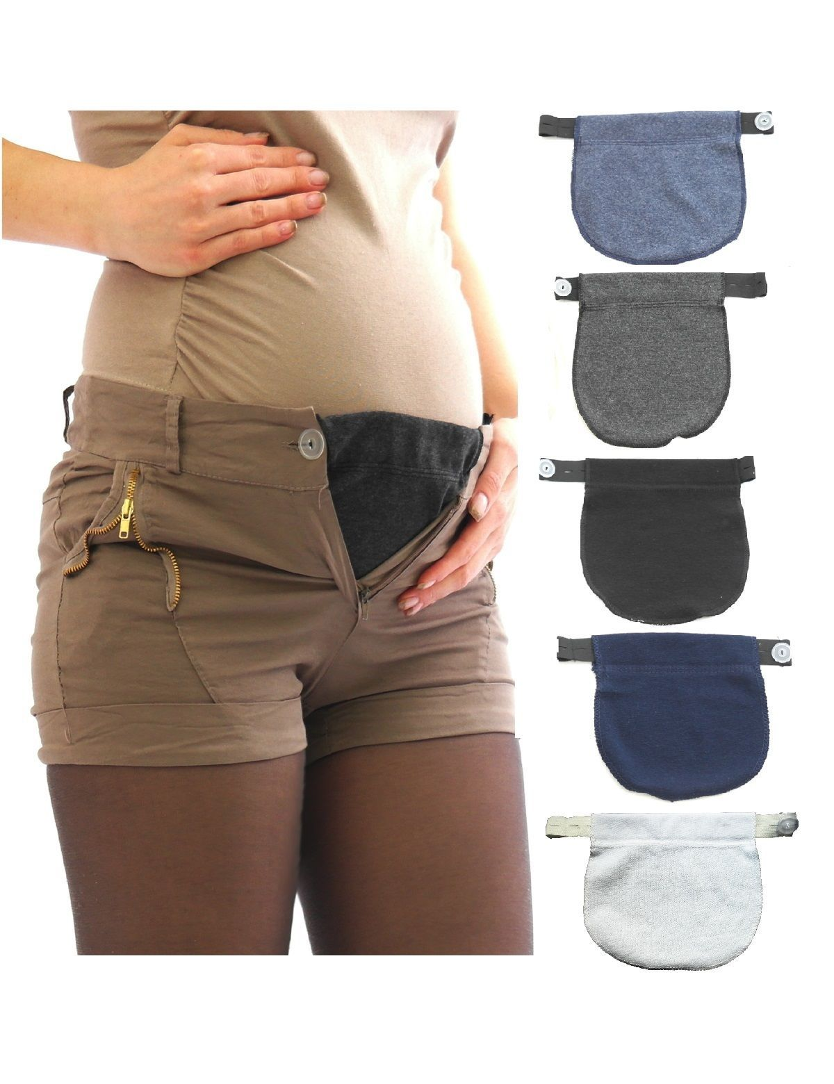 ec2f12dad  4.0 - Pants Extension Pants-Skirt Belly Band Gummi Knopf For Umstand -  Trousers  ebay  Fashion
