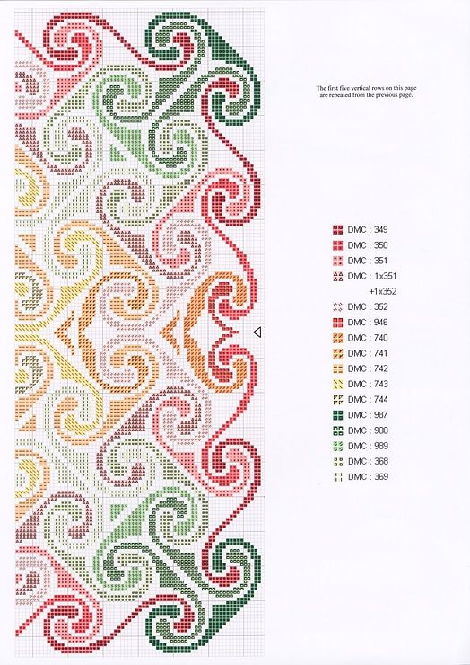 Cross-stitch Spiral Sunset, part 2 with the color chart
