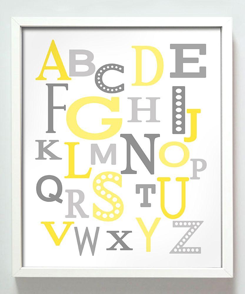 Yellow & Gray Modern Alphabet Print | Boys Yellow Nursery ...