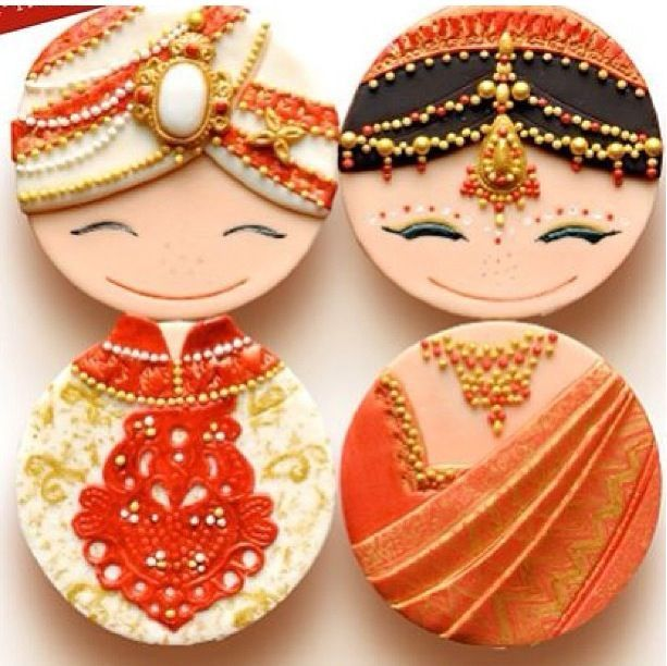 Cute Indian Bride And Groom Cookies What A Great Idea In Place Of Or Addition To Wedding Cake