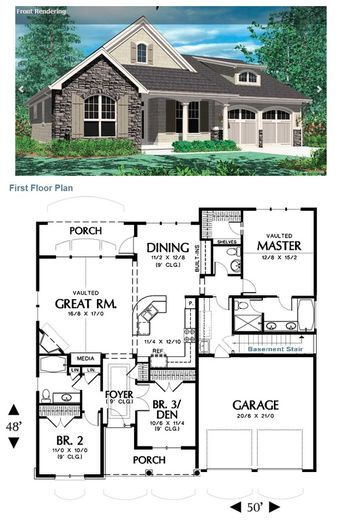 Hollis 2432 3 Bedrooms And 2 Baths The House Designers Ranch House Plans Basement House Plans New House Plans