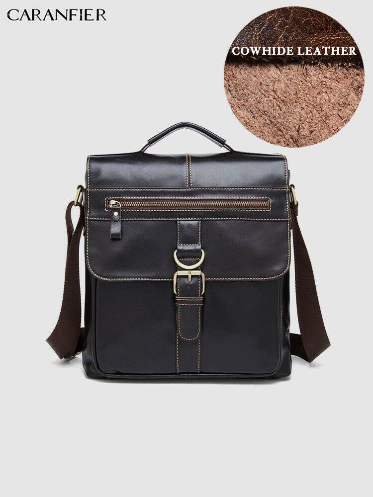 CARANFIER Men Shoulder Messenger Bags Genuine Cowhide Leather Laptop Satchel