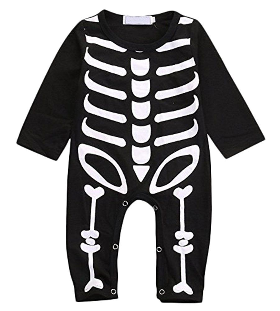 Baby Black Skeleton Halloween Romper Suit With Matching trousers Hat 3 Piece