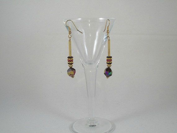 Purple and Gold drop earrings by Dare2BUbyJ on Etsy, $7.50 ON SALE NOW!
