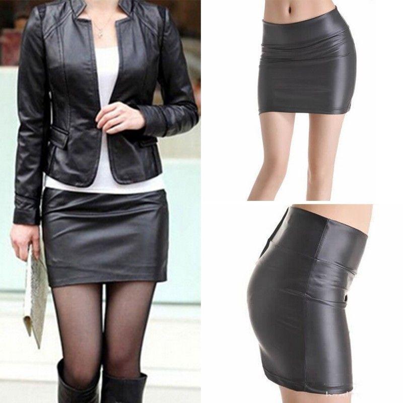 Women Sexy Bodycon Mini Skirt Faux Leather Zip High Wasit Mini Short Skirt  S-3XL