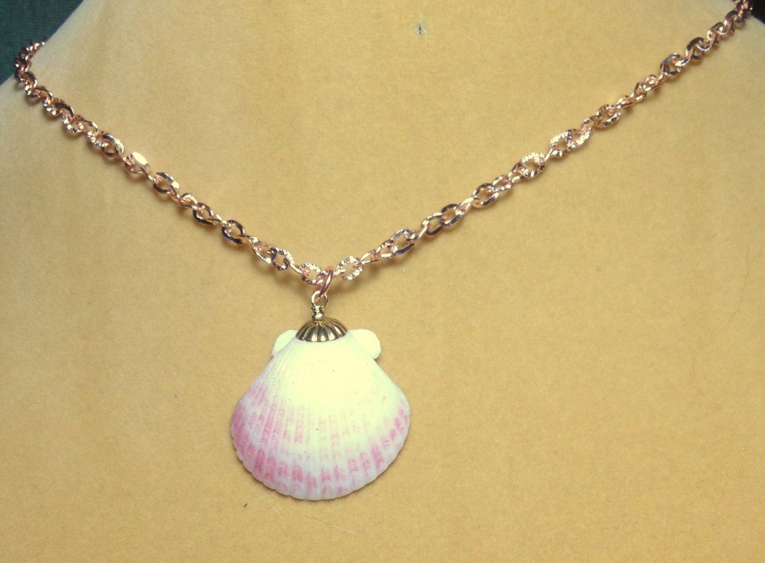 Pink and white scallop seashell on a rose gold chain necklace Rose