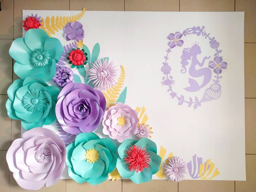 Etsy product baby shower mermaid theme pinterest large paper large paper flowers mermaid party decor set aqua and purple paper flowers flower backdrop ready to ship girls birthday party decor mightylinksfo