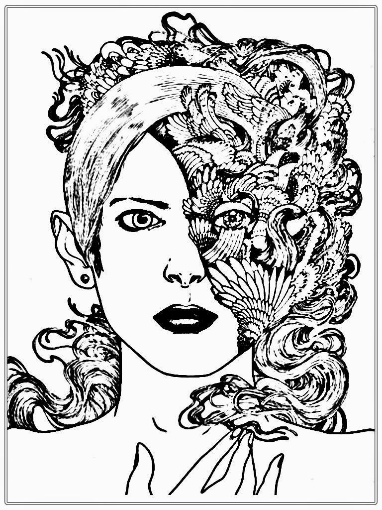half women faces coloring pages for www