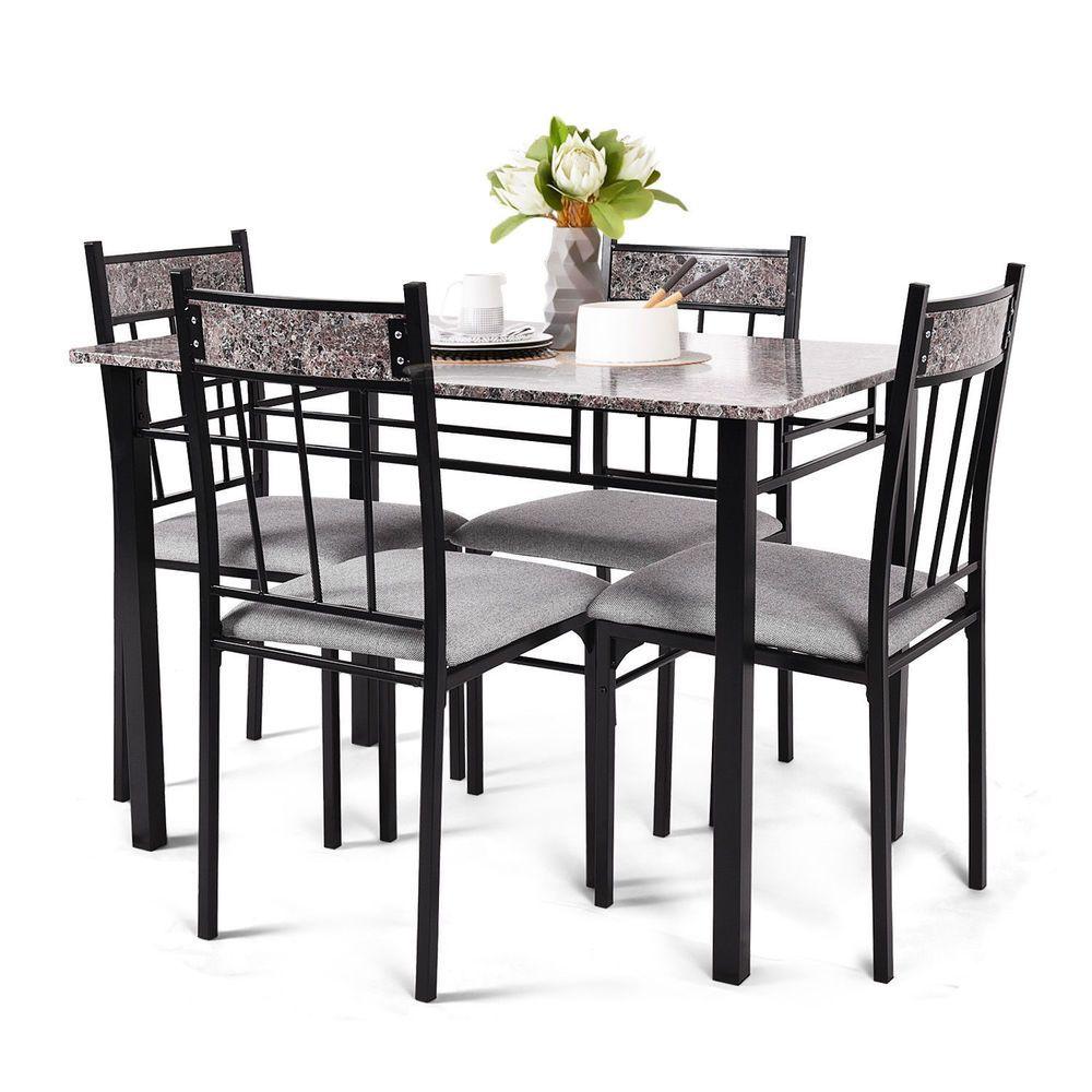 kitchen breakfast furniture 5 piece faux marble dining set
