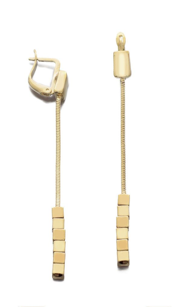 Gold Plated Three Squares Earrings Shiny by JenniferLoveKids