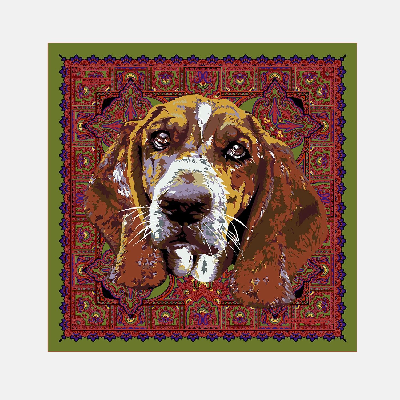 Turnbull Asser Renaissance Dog Green Personalised Silk Pocket