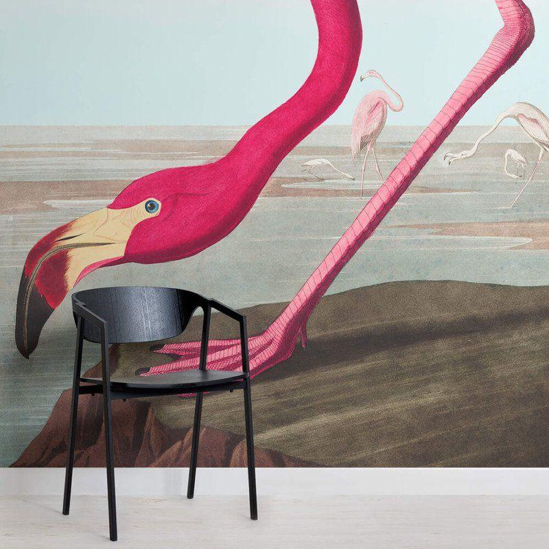 Pink Flamingo Wallpaper Mural (With images) Flamingo