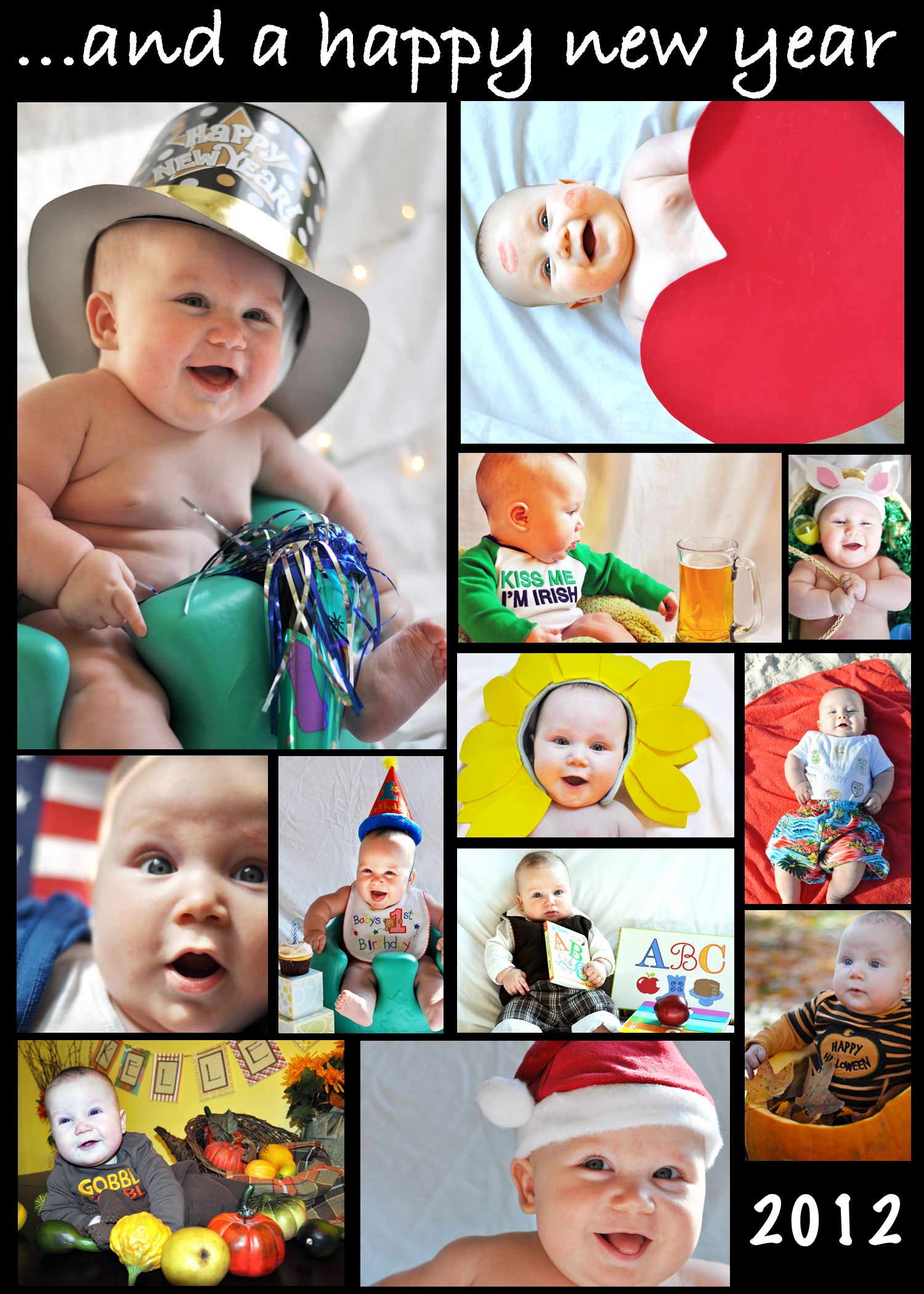 Baby Photo Calendar Ideas : Baby photo shoot happy new year card also a great