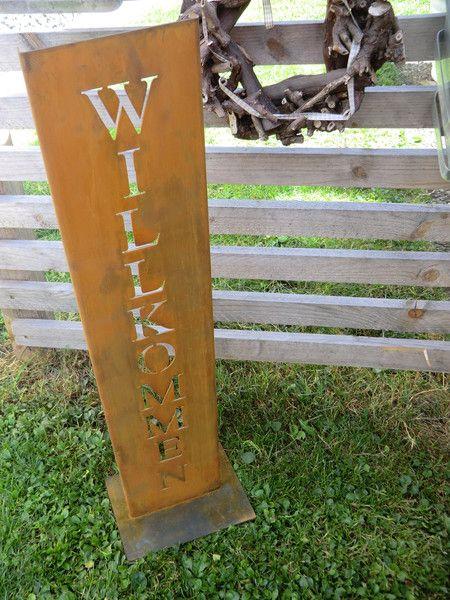 Willkommen schild aus edelrost 70cm hoch von little things for Gartendeko schilder