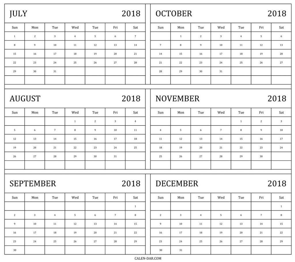 Take Printable Calendar July To December 2019 Printable Calendar