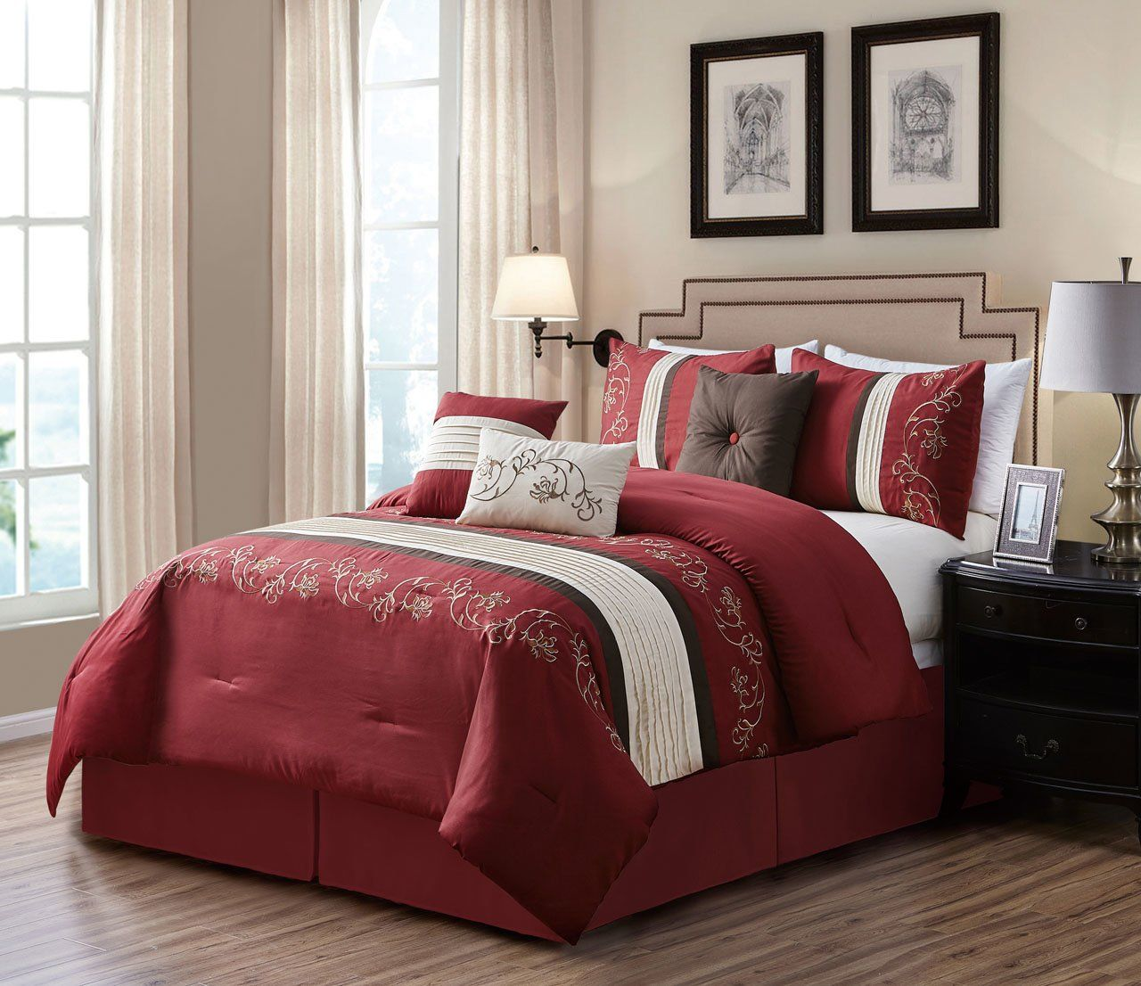 7 Piece Canace Burgundy Ivory Comforter Set With Images Comforter Sets Ivory Comforter Master Bedroom Interior Design