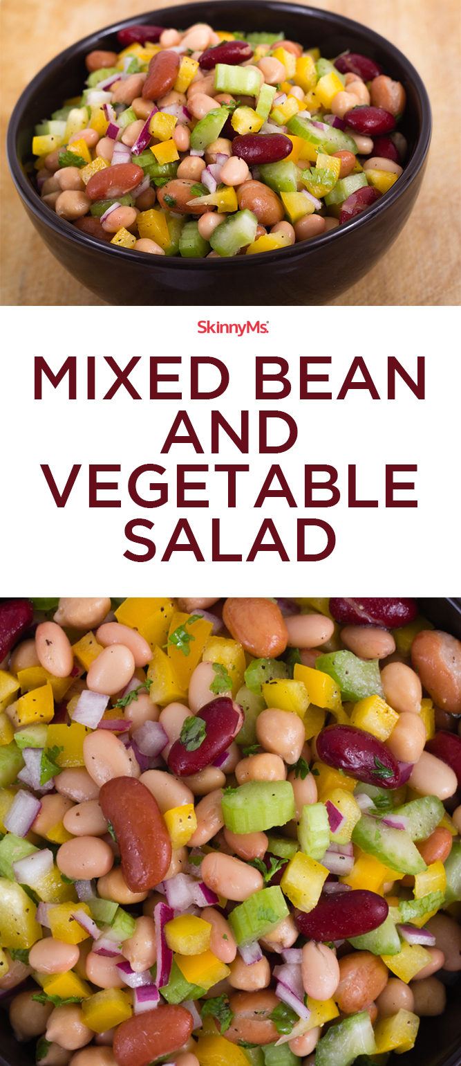 Mixed Bean And Vegetable Salad Recipe Vegetable Salad Recipes Vegetable Salad Perfect Salad Recipe