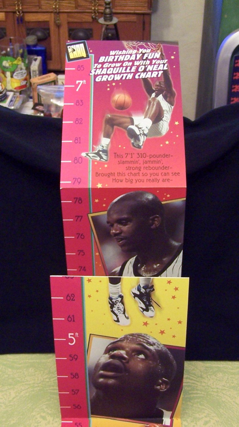 1995 Hallmark Classic Shaq Shaquille O Neal Birthday Card Fold Out