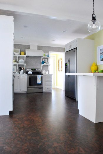 Completing Our Kitchen S Cork Floor Installation Cork Flooring Cork Flooring Kitchen Dark Cork Flooring