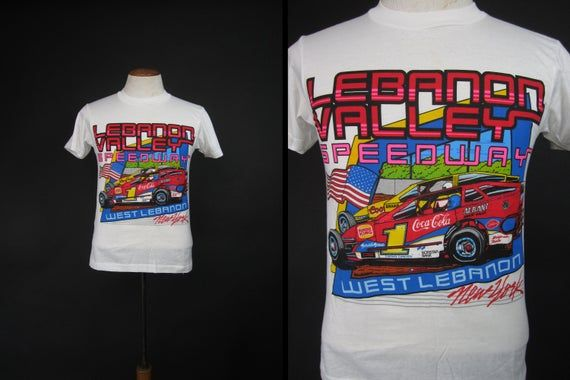 Photo of Vintage Lebanon Valley Race T-shirt NY Dirt Track Modified Car Racing – Small