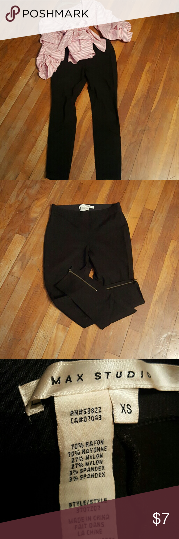Max Studio Black Leggings Sexy black leggings size XSMALL w/ zipper ankles Max Studio Pants Leggings